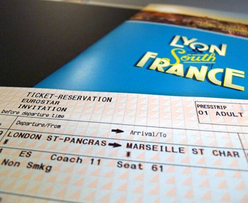 Eurostar ticket to Marseille on inaugural train
