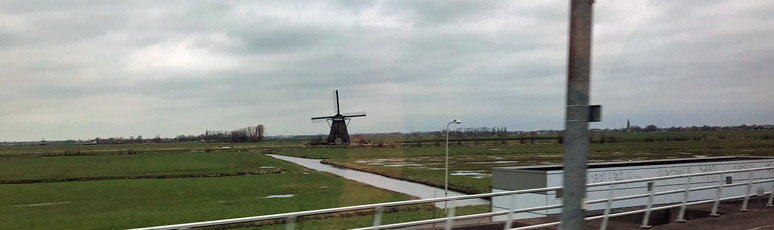 Dutch windmill seen from Eurostar to Amsterdam