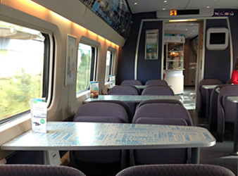 Bistro car on an Allegro train from Helsinki to St Petersburg