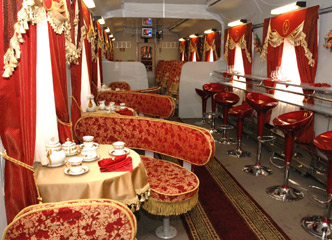 Restaurant car on the Helsinki to Moscow train 'Tolstoi'.