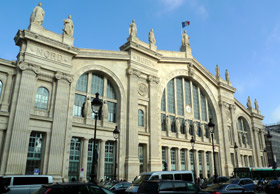 Eurostar trains from London to Paris arrive at the Gare du Nord in central Paris
