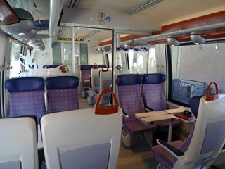 Seats on a TER train between Toulouse and Latour de Carol
