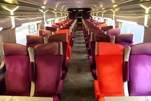 Refurbished TGV interior by Christian Lacroix, second class