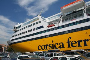 Corsica Ferries' Mega Express II at the quayside in Nice's old port