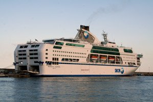 SNCM's superb cruise ferry Danielle Casanova at Bastia, about to sail for Marseille