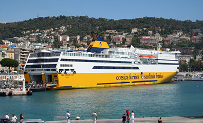 Corsica Ferries' Mega Express Four at the quayside in Nice's old port