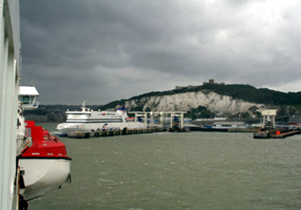Train and ferry from London to Paris:  Dover Eastern Docks