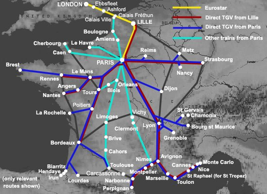 Route map for taking the train from London to France