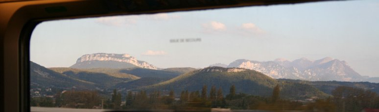 Mountains as seen from a Paris-Barcelona TGV train