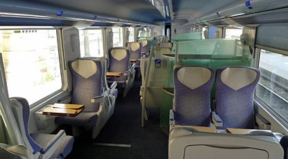2nd class seats on a Teoz train