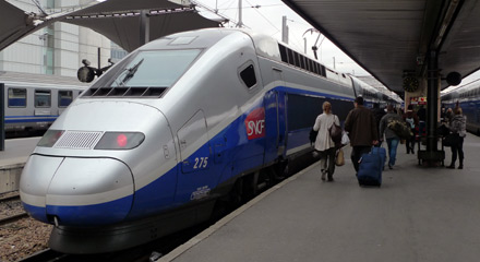 A TGV Duplex about to leave Paris Gare de Lyon for St Raphael, Cannes, Antibes & Nice