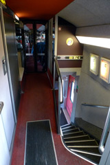 Upper deck second class on board a TGV Duplex.