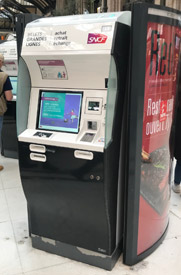 French Railways self-service ticket machine at Paris Lyon