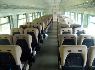 2nd class seats on the Libreville to Franceville train