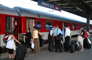The sleeping-car on the Paris-Munich overnight train boarding at the Gare de l'Est