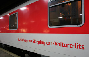 A sleeping-car as used on the Cologne-Copenhagen overnight train