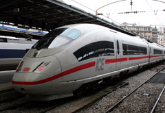 High-speed ICE train from Paris to Frankfurt