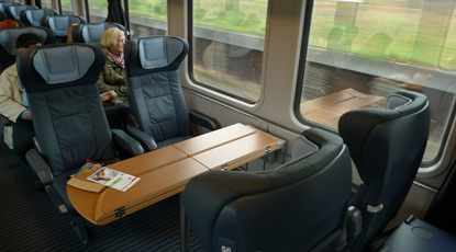 1st class table for four on an InterCity train