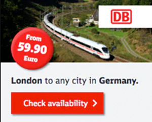 Buy a London Spezial ticket from to Germany by train