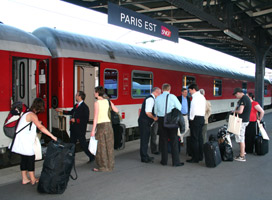 The sleeping-car on the Paris-Berlin City Night Line train boarding at the Gare de l'Est