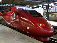 A Thalys for Amsterdam about to leave Brussels Midi...