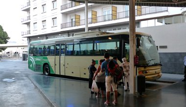 Bus M-120 for La Linea (Gibraltar's frontier) boarding at Algeciras bus station.