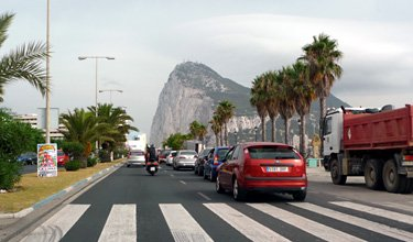 The Rock of Gribraltar, viewed from a taxi approaching La Linea
