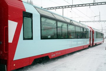The Glacier Express train in winter