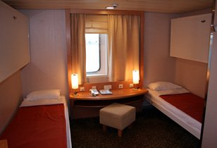A 2 or 4 berth cabin on the Italy-Greece ferry