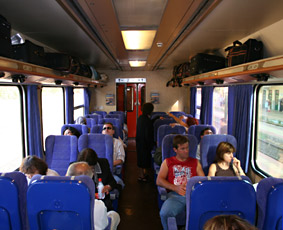 2nd class seats on an InterCity train from Thessaloniki (Salonika) to Athens