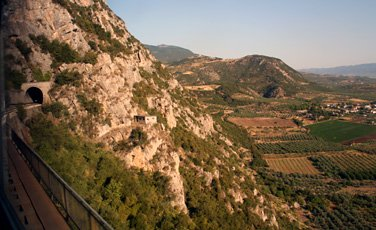 Great scenery from the train:  In the mountains between Athens and Larissa