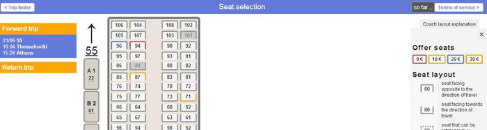 Buying Greek train tickets online, screenshot 2