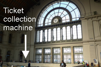 Location of MAV-start ticket collection machine at Budapest Keleti.