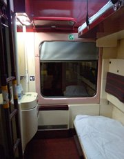 Sleeper compartment in the Hungarian sleeping-car from Munich to Budapest