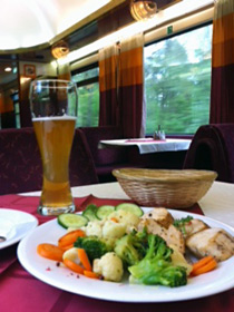 Meal in a Hungarian restaurant car