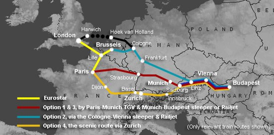 Route map:  London to Budapest & Hungary by train