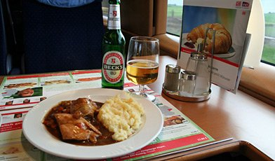 Lunch & beer on an ICE3 train