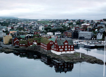 The ferry 'Norrona' calls at Torshavn in the Faroe Islands