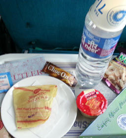 Complimentary snacks on a shatabdi