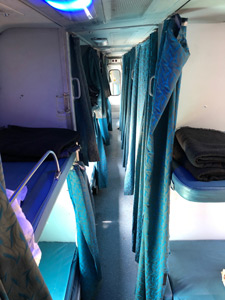 Aisle of an AC 2-tier sleeper