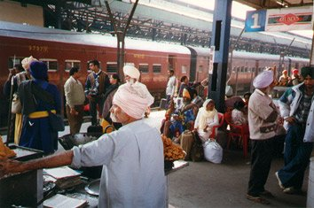 Train travel in India:  Amritsar station before the departure of the Shane Punjab Express to Delhi.