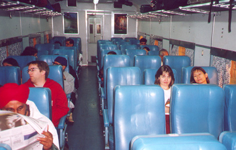 Interior of AC chair car on the Delhi - Kalka 'Himalayan Queen'...