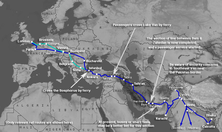 Map showing train routes from the UK across Europe to Pakistan & India