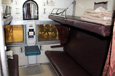AC1 4-berth sleeper compartment on Delhi-Jaisalmer Express