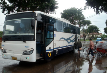 The bus from Banyuwangi station to Denpasar on Bali