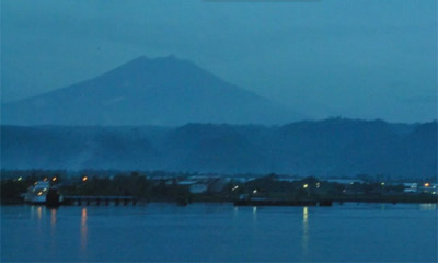 View back from the ferry to Banyuwangi as night falls...