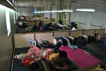 Economy class sleeping area on the Pelni ferry m/v Kelud to Java