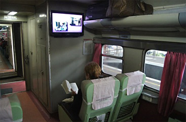 Executive class on the train from Yogyakarta to Surabaya