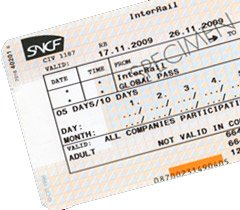 Example InterRail train pass