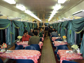Trans-Asia Express - the Iranian train's restaurant car...  (Photo: Bob Johnson)